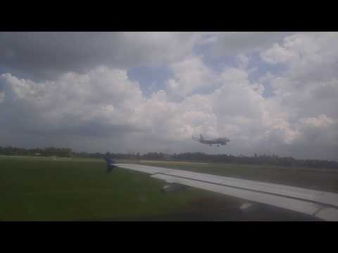 Flight lands as we wait for clearance at Cochin airport (Solar Powered Airport )