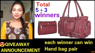 GIVEAWAY ANNOUNCEMENT|Each winner can Win Beautiful HANDBAG PAIR|mana inty tip's
