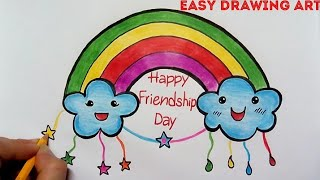 how to make handmade friendship day greeting card drawing for kids || friendship day poster drawing