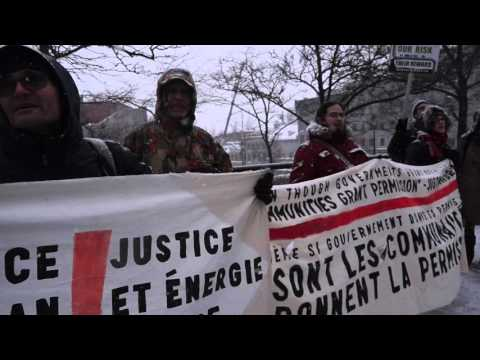 Anti-Pipeline Protest During Justin Trudeau Visit To Montreal City Hall 00052