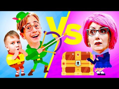 Девочки против Мальчиков челлендж в Боумастерс. Злая Училка помоги! Мы играем Bowmasters Challenge