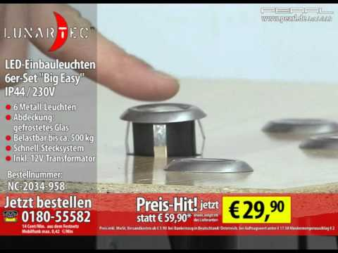 lunartec led einbauleuchten 6er set big easy ip44 230v youtube. Black Bedroom Furniture Sets. Home Design Ideas