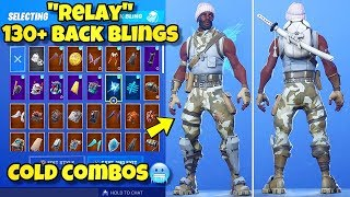 "NEW ""RELAY"" SKIN Showcased With 130+ BACK BLINGS! Fortnite Battle Royale (BEST RELAY SKIN COMBOS)"