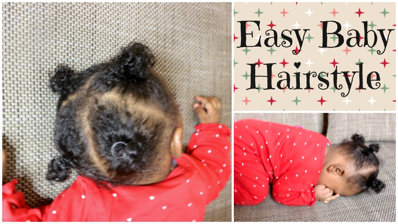 afro baby girl hairstyle using rubberbands | infant - toddler hairstyle idea | linda barry