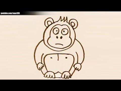 Como dibujar un gorila facil - YouTube