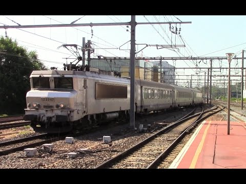 SNCF Passenger and freight trains in Lyon, France - July 2016