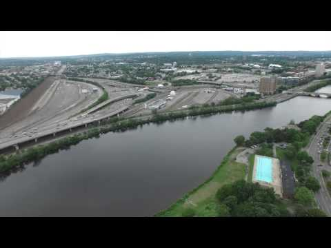 Memorial Drive, Charles River, Cambridge MA Drone Aerial
