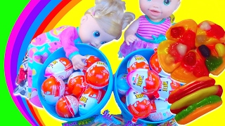Kinder Joy Surprise Eggs + Gummy Pizza with Baby Alive Doll and Pororo - Kids' Toys