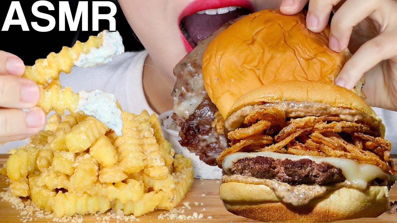 ASMR New Shake Shack Black Truffle Burger 쉑쉑(미국) 신메뉴 블랙트러플버거 먹방 Eating Sounds Mukbang