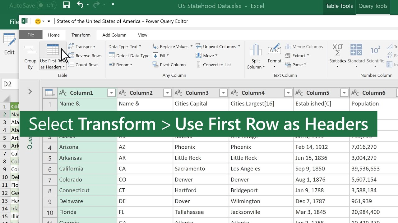 Promote a row to a column header in Excel