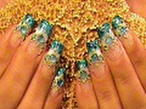 Blue bead ombre gradient nail art design tutorial video youtube prinsesfo Gallery