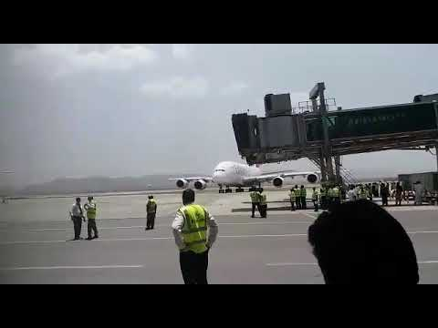 First Airbus 380 landing at new Islamabad international airport
