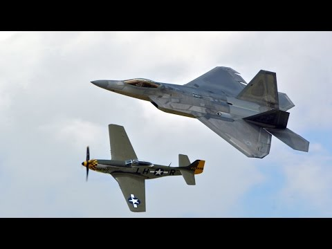 2016 Vectren Dayton Airshow: F-22 Demo & Heritage Flight