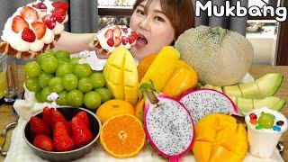 과즙폭발!! 다양한 과일 먹방 생크림 와플 🍓🍈🍊🍍 딸기, 샤인머스캣, 파인애플, 용과, 애플망고 Mukbang
