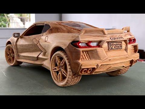 Wood Carving - 2020 Chevrolet Corvette C8 - Woodworking Art