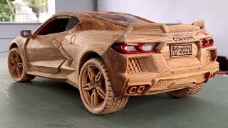 Wood Carving -  2020 Chevrolet Corvette C8 - Woodworking Art