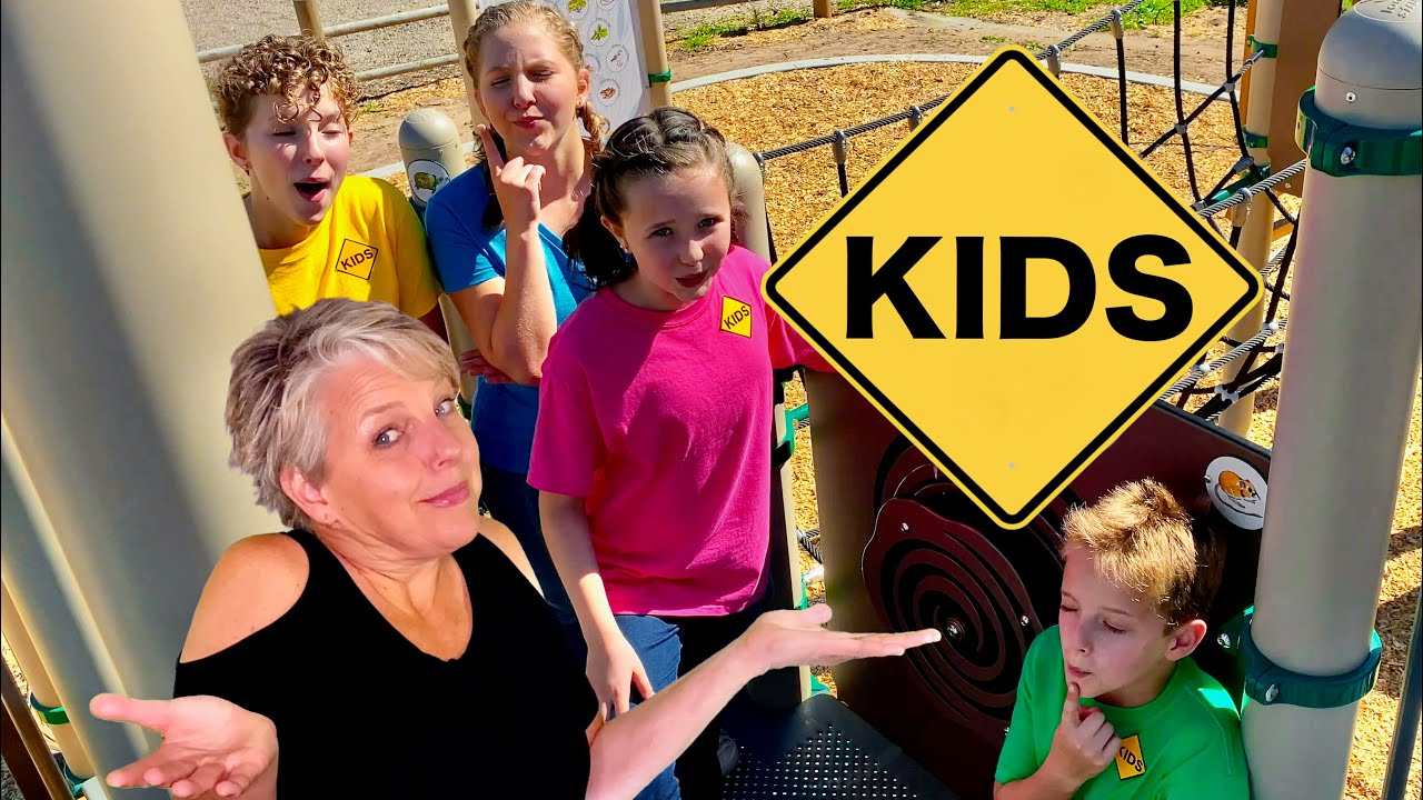 Playground Hide and Seek Animals with Sign Post Kids & Mommy!