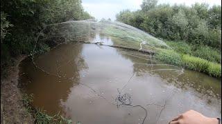 Не ожидал увидеть крупную рыбу на перекатах и мелководье Кастинговая сеть 6м на малой реке