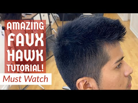 Faux Hawk Faded TUTORIAL! Barber Shows Shear Work & Blurry Fade!