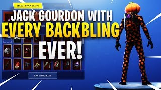 "*NEW* PUMPKIN ""Jack Gourdon"" SKIN SHOWCASE WITH ALL BACKBLINGS IN FORTNITE!"