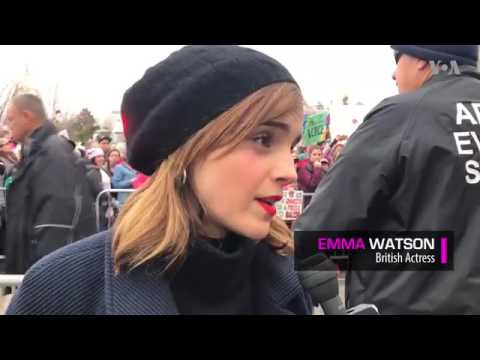 Emma Watson at the Women's March yesterday [21.01.2017]