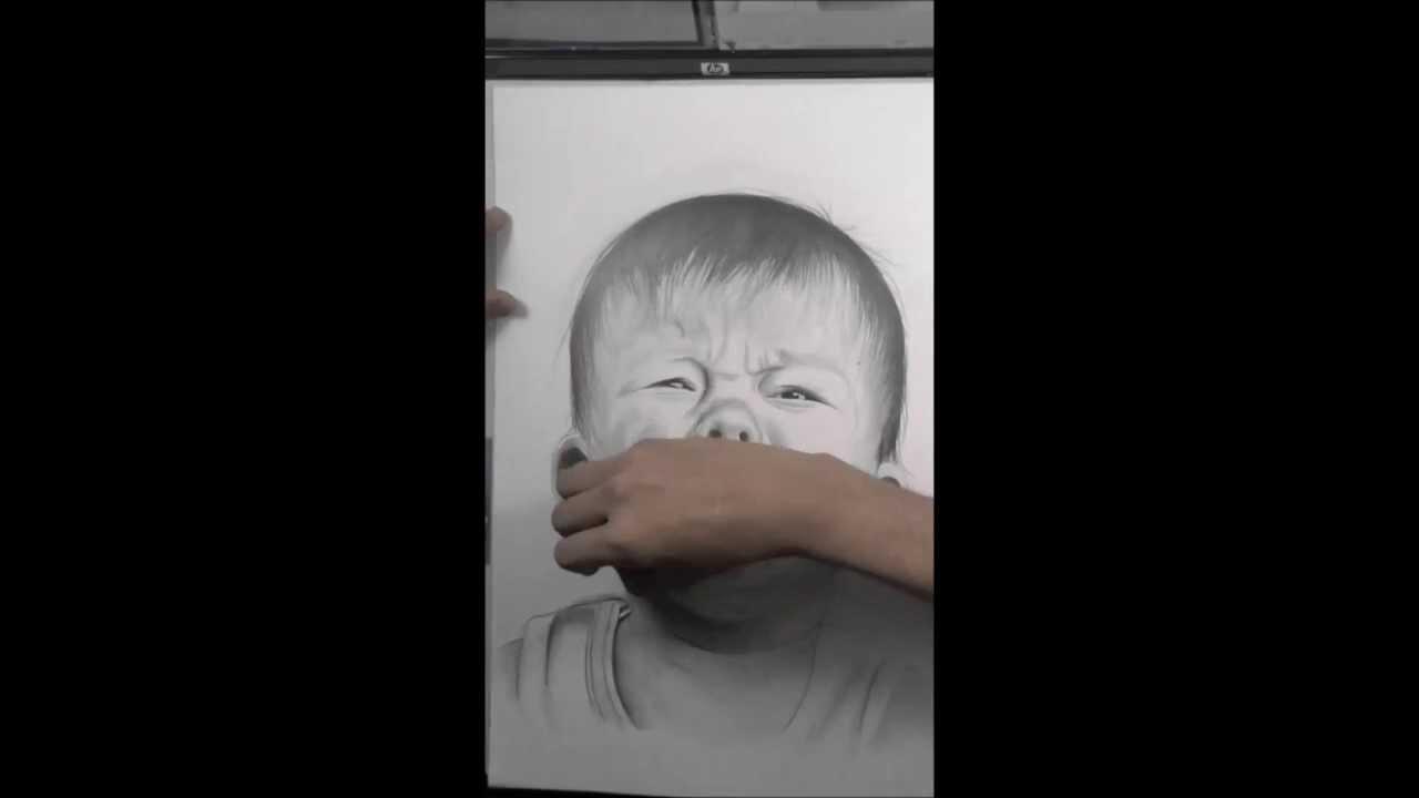 Dibujo A Lapiz De Bebe Llorando