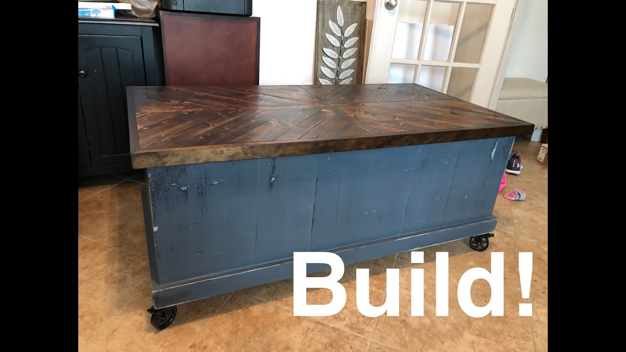 rustic lift up top coffee table w storage build part 1
