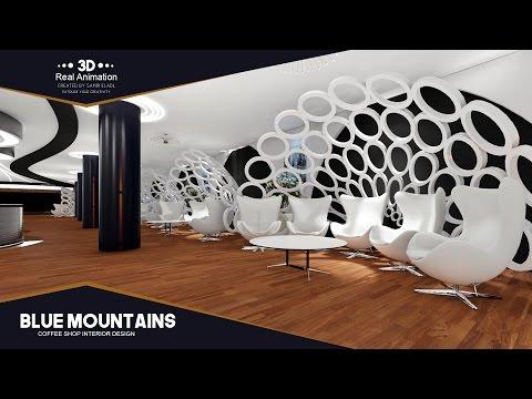 """Blue Mountains"" Coffee Shop Interior Design 3D Real Animation CREATED BY-Samir Eladl"