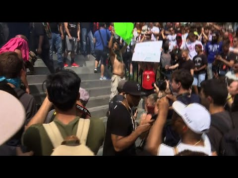 Tension, Scuffles as Thousands Protest in Boston