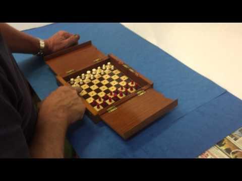 Antique Travelling Chess Set for sale at MostlyBoxesAntiques.com