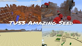 Minecraft Xbox / PlayStation TU53 Seed - Mushroom Biome, Village, Mesa & Flatland