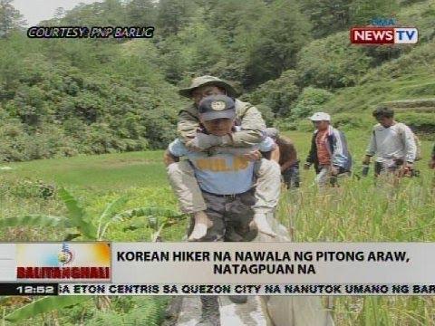 Korean hiker na nawala ng pitong araw, natagpuan na