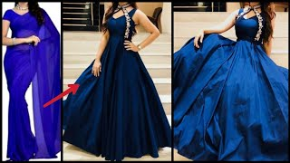 Convert Old Saree/Fabric Into Evening Gown गाउन in 10minutes Reuse Old Sarees