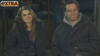 keri russell and matthew rhys on the set of the americans
