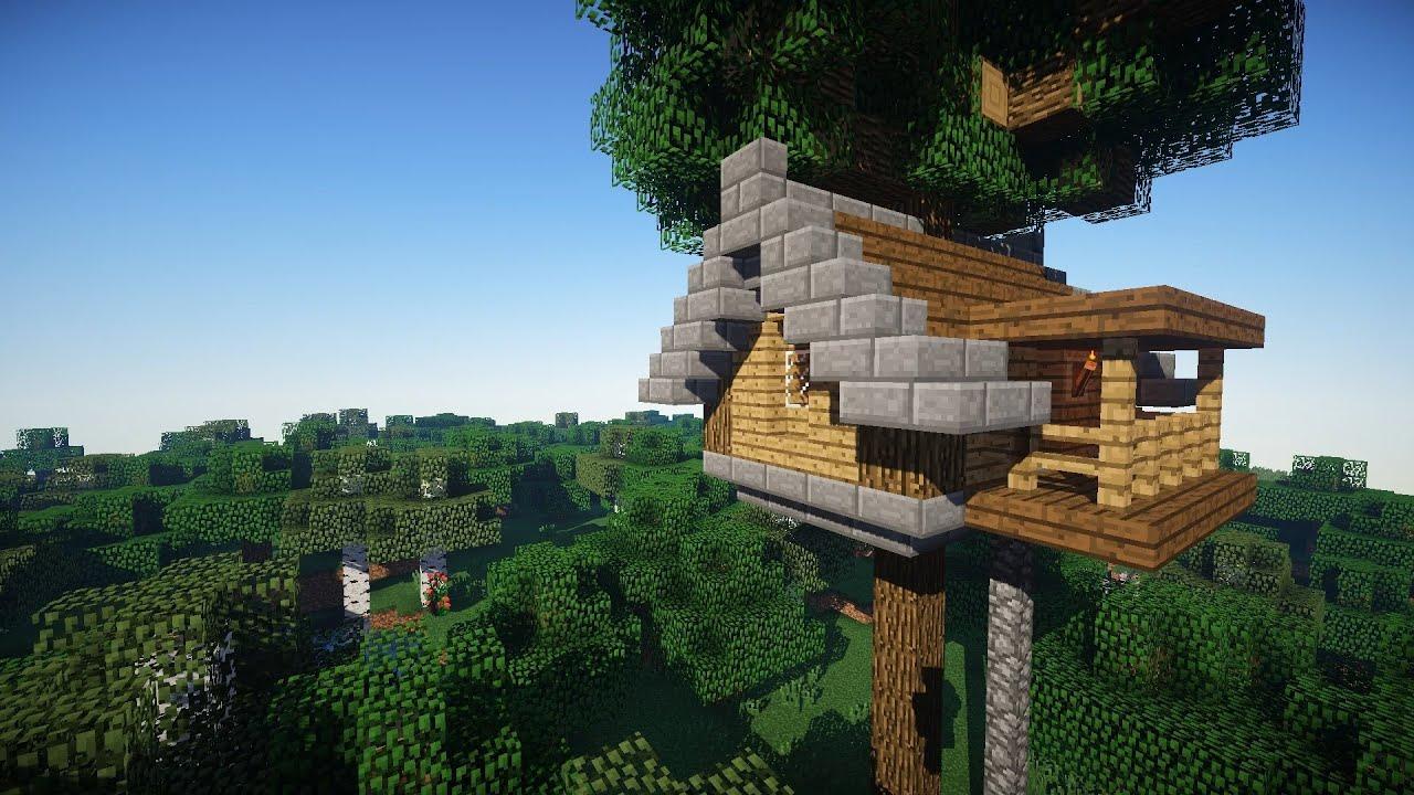 можно домик на дереве в майнкрафт для начинающих карамельные