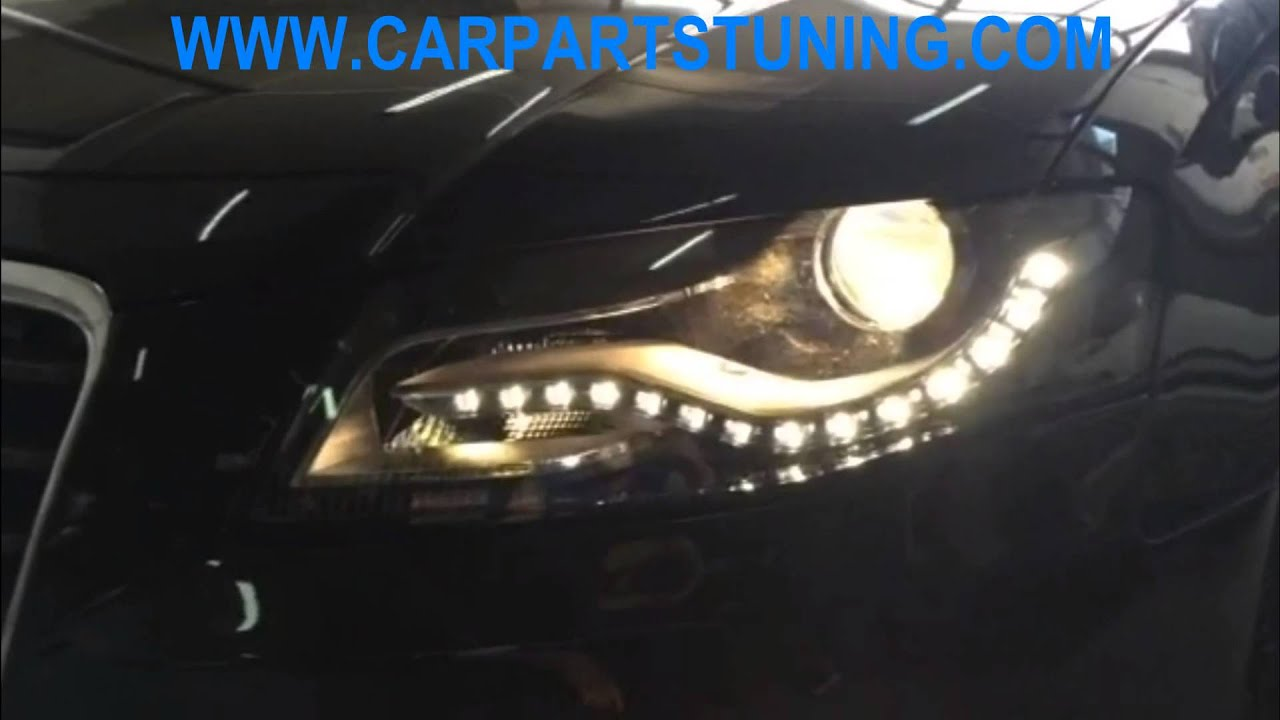 led headlights audi a4 b8 08 11 facelift conversion xenon. Black Bedroom Furniture Sets. Home Design Ideas