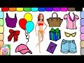 Play Barbie Dress Up | Barbie Goes To A Birthday Party | Learn Colors | Learn Simple Clothes Names