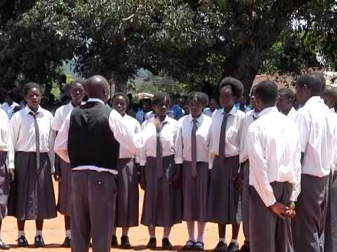 Mukuni High School singing the Zambian National Anthem