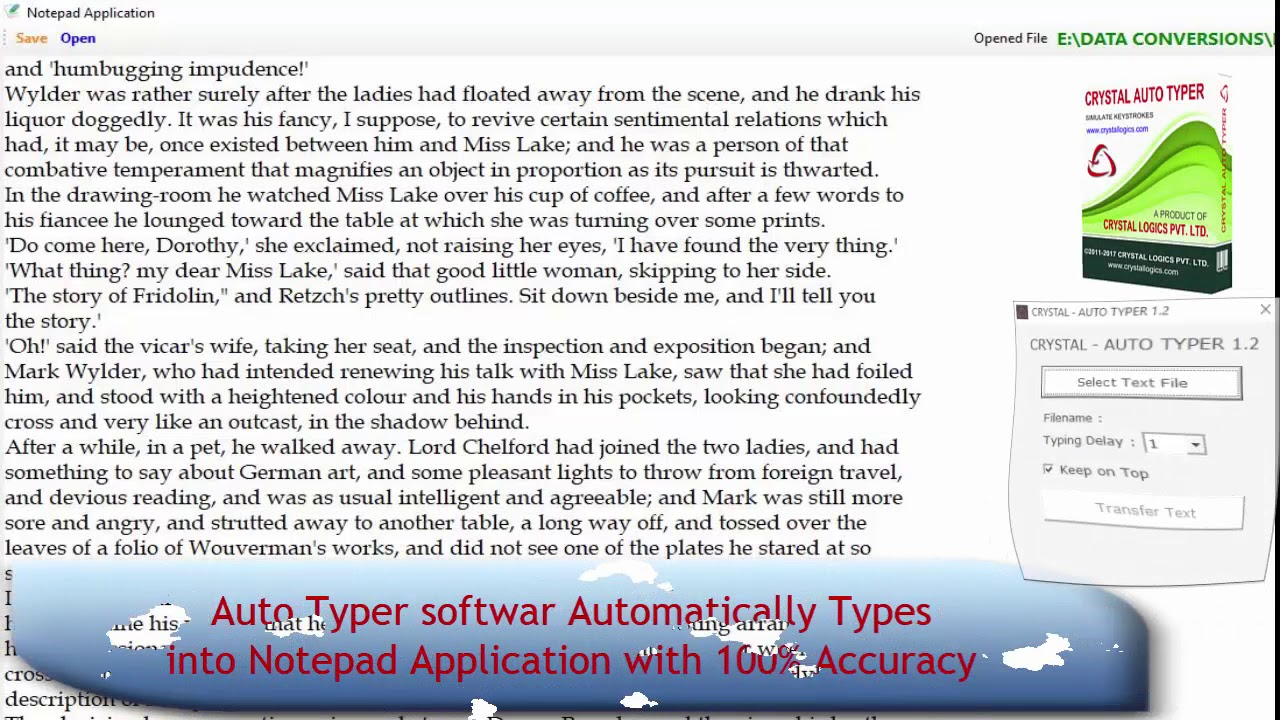 Auto typing of Notepad app in  DXT format with image TXT file