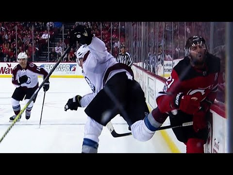 Hischier and Hall stand up for teammate after knee-on-knee hit