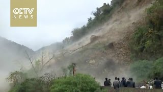 Landslide uproots trees, destroys road in Shaanxi