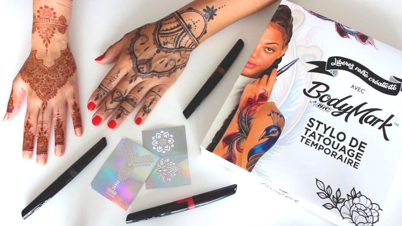 Henné avec le Stylo de Tatouage temporaire pour la peau 🤩 Bodymark de BIC