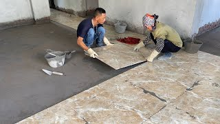 Construction Technique For Living Room Floor With Large Format Ceramic Tiles 80 x 80 cm