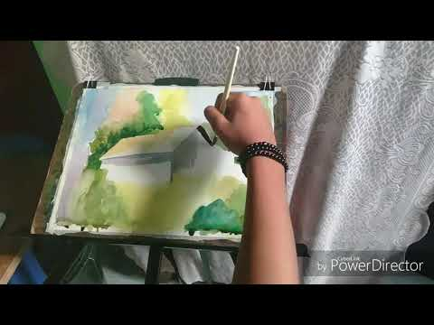 Watercolor Landscape Painting Speed Art Video BY HOBBY WORLD
