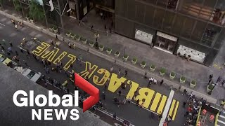 Black Lives Matter mural painted outside Trump Tower in New York City
