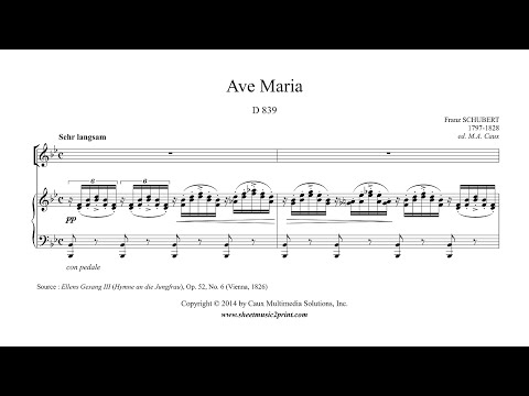 Schubert : Ave Maria (Latin) - Soprano or Tenor