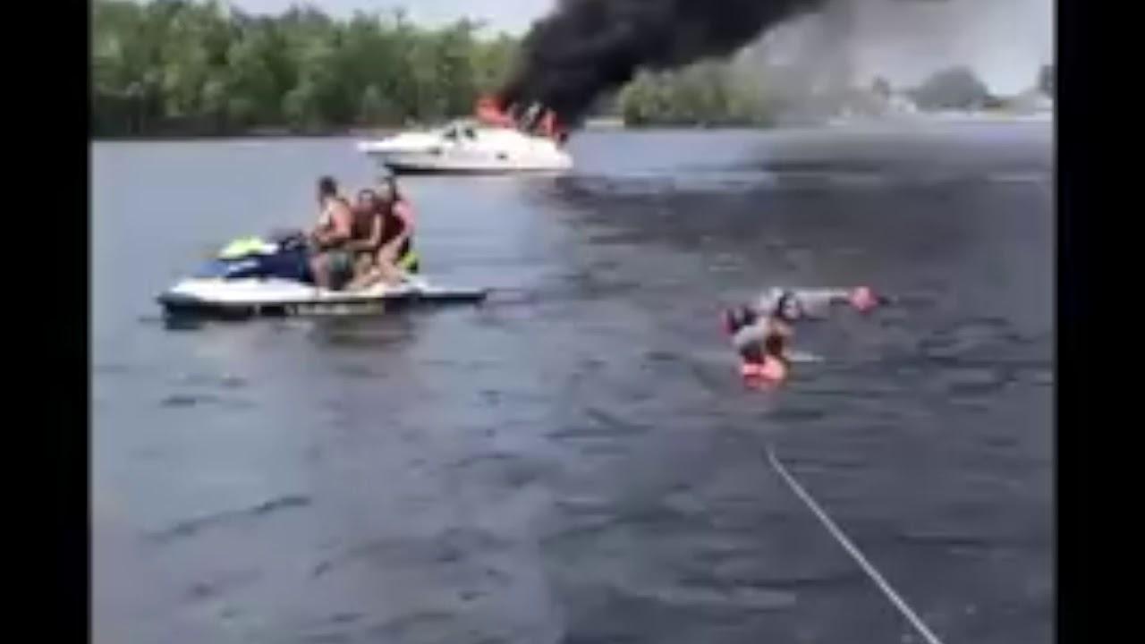 Un bateau en feu sur la rivière des Outaouais: une secouriste sous le choc [VIDÉO]
