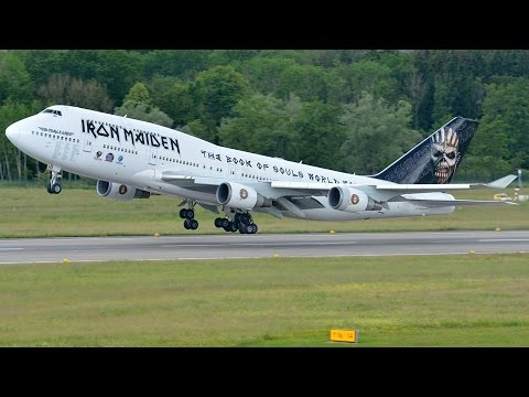 Iron Maiden's Jumbo Ed Force One (push back, taxiing and take off) at Zürich-Kloten