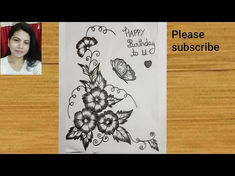 Birthday Greeting Design Beautiful Design Pencil Sketch Step By Step Very Easy Youtube