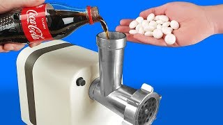 EXPERIMENT: MEAT GRINDER VS COCA COLA AND MENTOS
